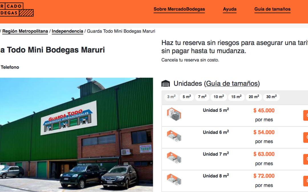 Mercado Bodegas, disponibles mini bodegas en Santiago
